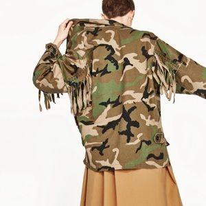 Zara Camouflage Fringe Studded Jacket Sizes M & L